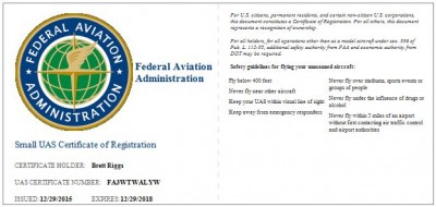 Brett Riggs FAA Small UAS Certificate of Registration