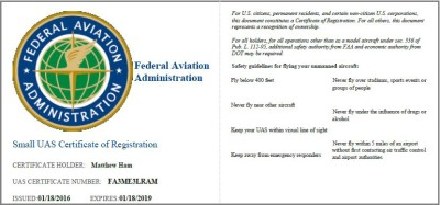 Matthew Ham - UAS Certificate - Drone Certified